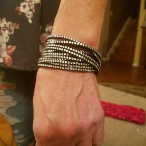 Swarovski crystal black wrapped bracelet